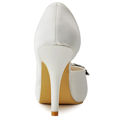 ElegantPark HP1552I Mujer Tacón De Aguja Fiesta Plataforma Peep Toe Dorsay Rhinestone Satén Zapatos De Boda AB AB Ivoire