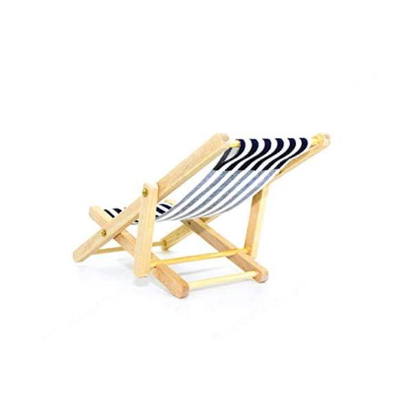 FOTN Premium Quality Miniatura Dollhouse Pieghevoli in Legno Beach Chair Chaise Longue Giocattoli 3 spesavip