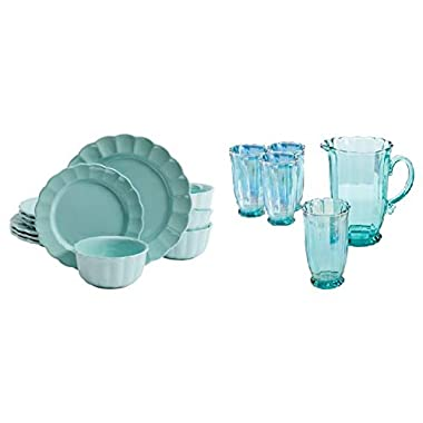 The Pioneer Woman Luster Teal 12-Piece Dinnerware Set comes with a Teal 5-Piece Pitcher and Tumbler Set
