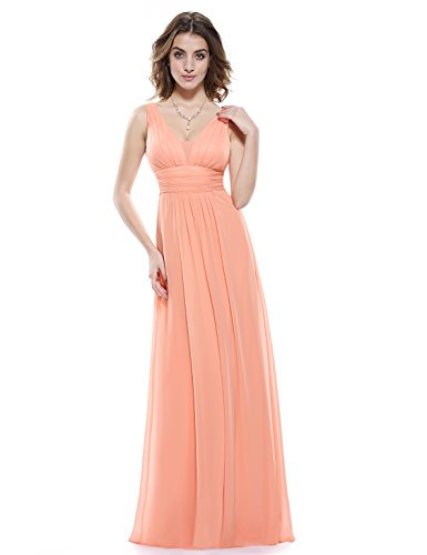 Ever-Pretty Womens Empire Waist Long Maxi Easter Dress 12 US (Sexy Peach)
