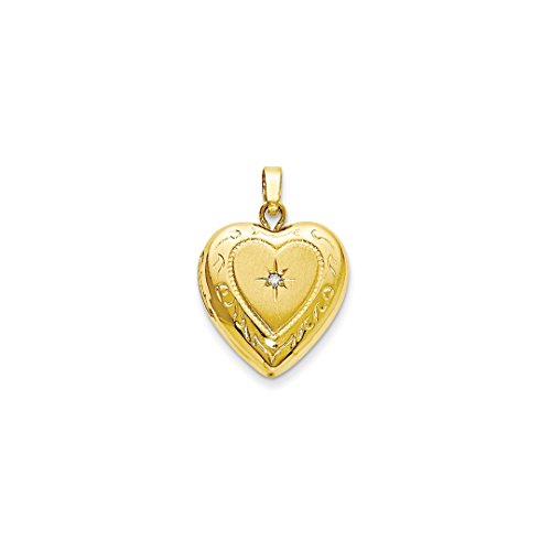 ICE CARATS 14kt Yellow Gold 13mm Heart Locket Pendant Charm Necklace Fashion Jewelry Gift Set For Women Heart