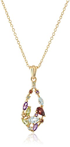 18k Yellow Gold Plated Sterling Silver Multi Gemstone Pendant Necklace, 18