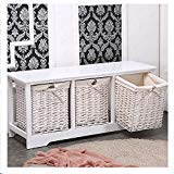 White 3 Drawer Shabby ChicTable Wicker Wood Cupboard Cabinet Basket Storage for storing any other by Heaven Tvcz