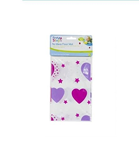 first steps No Mess Floor Mat Easy Clean Baby Messy Mat - Pink Hearts Design (Dispatched from UK)