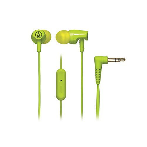 Audio-Technica ATH-CLR100iSLG SonicFuel In-Ear Headphones with In-line Microphone & Control, Lime (Audio Technica Green)