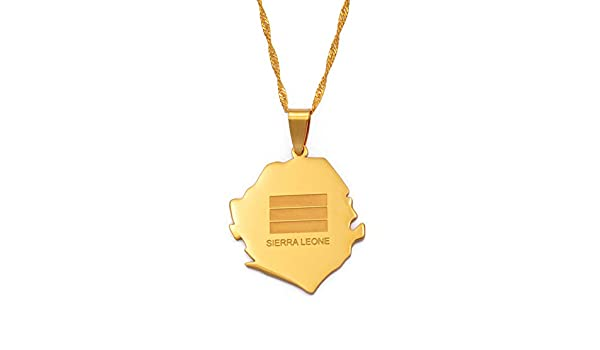 Sierra Leone Map Flag Gold Color Charm Pendant Necklaces Country Maps Jewelry