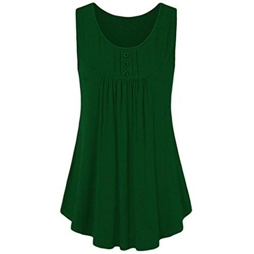 TOPUNDER 2018 Solid Summer Shirt Dress for Women, Button Sleeveless Tank Scoop Neck Pleats Tunic (Scoop Neck Love Square)