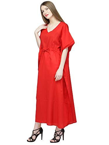 Robe Longue Caftan En Femmes Maxi Brodé Pour Coton Rouge Skavij UMVzpS