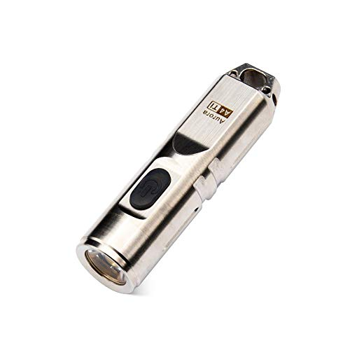 A4, RovyVon Aurora Titanium 550 Lumens Mini Keychain Rechargeable CREE LED Flashlight, (Natural Ti) ()
