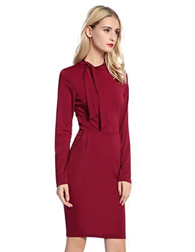 ANGGREK Womens Tie Neck Below Knee Sheath Peplum Pencil Dress Wine Red S