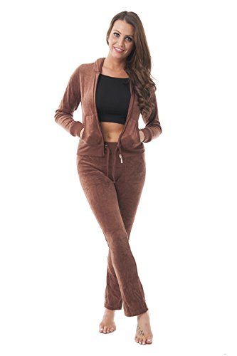 Hoodie Jacket Velour Brown - Velour Classic Hoodie Sweat Suit Jacket and Pants Set Velvet Tracksuit with Pockets (Medium, Brown)