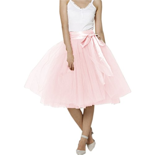 Lisong Women Knee Length Bowknot Layered Tulle Party Prom Skirt 8 US Light Pink ()
