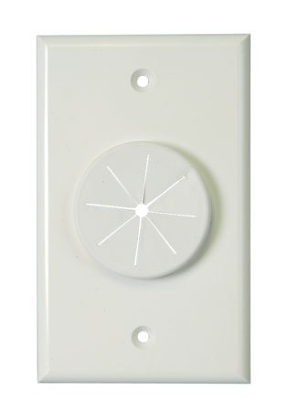 (Single Gang Wireport Cable Pass Through Wall Plate With Grommet - Ivory-2pack )
