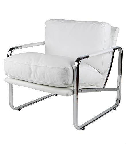 Magis Modern Chair - Whiteline Contemporary Modern CH1071P-WHT Magi Faux Leather Chair with Chrome Frame, White
