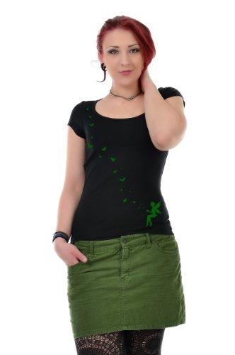 manga Top camisa Verde de ropa cuello Camisa de Verano hadas 3elfen mariposa con Negro corta redondo Mujer de fwI0TqA