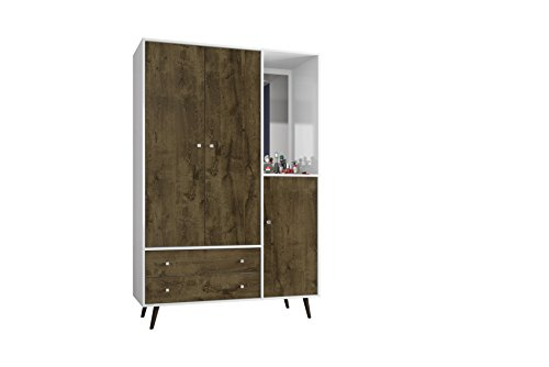 Manhattan Comfort Liberty Collection Mid Century Modern Armoire Closet With Two Cabinets and Two Drawers With Open Shelf Space, Wood/White Trim by Manhattan Comfort