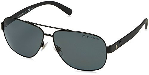 Polo Ralph Lauren Men's 0ph3110 Polarized Aviator Sunglasses demiglos black 60.0 mm ()