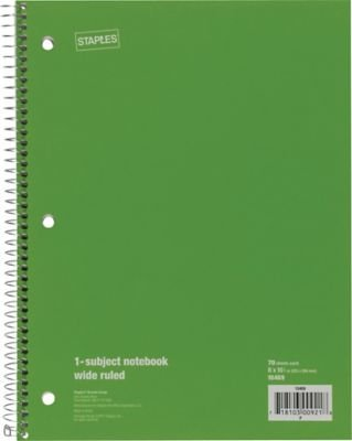 """Staples 1 Subject Notebook, Wide Ruled, 8"""" x 10-1/2"""", Green"""