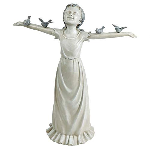Design Toscano EU340125 Basking in God's Glory Little Girl Outdoor Garden Statue, Large, 29 Inch, Two Tone Stone