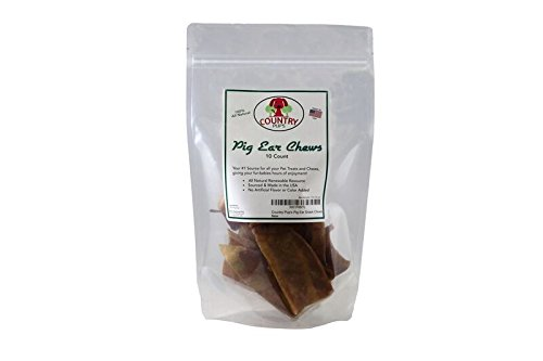 Country Pup's Pig Ear Chews, 100% Natural & Healthy Pig Ear Chew, Occupy Your Active Chewer, No Artificial Flavors, No Hormones, Premium Quality, USDA Approved Facility and Made in The USA