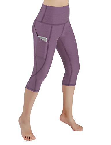 ODODOS High Waist Out Pocket Yoga Capris Pants Tummy Control Workout Running 4 Way Stretch Yoga Leggings,Lavender,X-Small