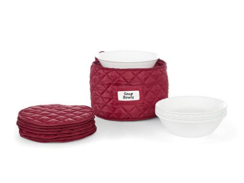 CoverMates – Round Soup Bowls Storage 10 DIAMETER x 7H – Diamond Collection – 2 YR Warranty – Year Around Protection - Red