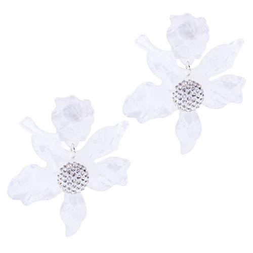 Dragonfly Sapphire Earrings (Yeefant 1 Pair Art Flower Pendant Shaped Steel Stud Diamond Jewelry Earring for Girl,Beige)