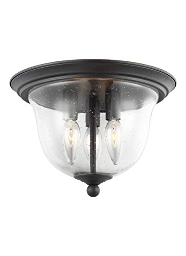 Sea Gull Lighting 7527803-839 Morill Three-Light Ceiling Flush Mount Hanging Modern Light Fixture, Blacksmith Finish