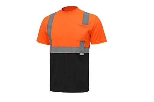 CJ Safety CJHVTS2003 ANSI Class 2 High Vis Short Sleeve Black Bottom Safety Shirt Moisture Wicking Mesh (Extra Large, Orange)