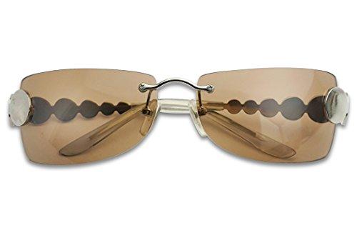Retro Rimless Rectangular Squared Light Tinted Sunglasses 70's Vintage Disco Novelty Sun Glasses (Silver Frame | Brown) -