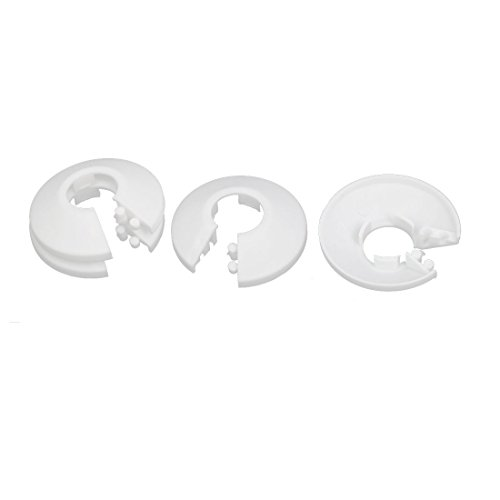 uxcell 16mm Plastic Wall Flange Radiator Water Pipe Cover Collar White 4pcs (Plastic Flange)