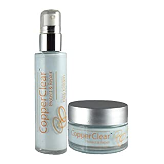 Copper Clear Face Cream Combo-All Natural Moisturizer with Zinc,Magnesium and Aloe-Great for Skin, Face and Eyes- NO Parabens,Artificial Fragrances or Preservatives- 2-oz-Day Cream & 1-oz-Night Cream
