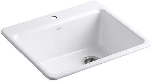 (KOHLER K-5872-1A1-0 Riverby Single Bowl Top-Mount Kitchen Sink with Bottom Basin Rack, White)