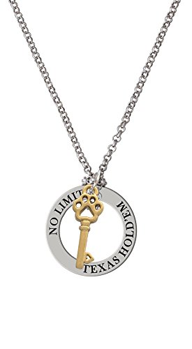Small Gold Tone Open Paw Key - Texas Hold'em Affirmation Necklace