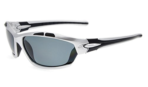 Eyekepper Polycarbonate Polarized Sport Sunglasses For Men Women Baseball Running Fishing Driving Golf Softball Hiking TR90 Unbreakable Silver Frame Grey - Mens Sunglasses Polarised