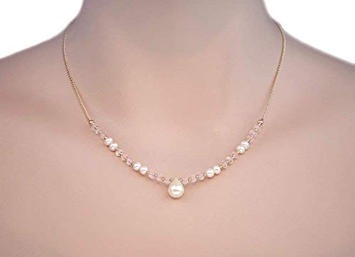 (14K Solid Gold Fresh Water Pearl Necklace Rose Quartz 16 In. LLD)