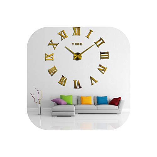 Wall Clock 3D Quartz Wall Clock Modern Design Real Big Acrylic Wall Clocks Mirror Wall Sticker Large Decoration Clock for Home Living Room,Gold,47 Inch