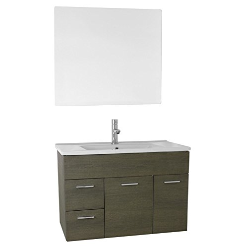 "ACF ACF LOR16 Loren Bathroom Vanity Set Wall Mounted with Mirror Included, 33"", Grey Oak chic"
