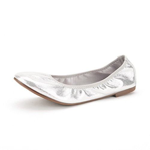DREAM PAIRS Women's Latte Ballet Flat, Silver, 6.5 M US