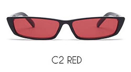 Sunglasses Women Vintage Small Rectangular Frame Black Red Cat Eye Sun Glasses,C9 BLACK ()
