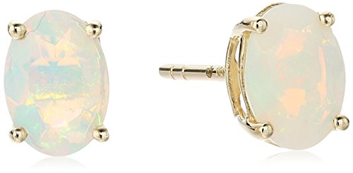 10k Yellow Gold Ethiopian Opal Oval Stud - Natural Opal Earrings Stud