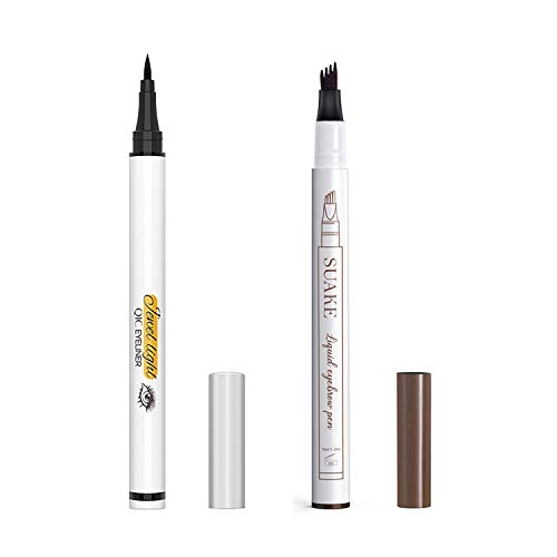 Liquid Eyeliner Pencil and Eyebrow Pen, Waterproof Long-Lasting Eye Liner, Super Slim Gel Eyeliner Makeup, Quick Drying Formula, Black