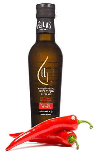 - Pellas Nature Fresh Organic Hot Pepper Infused Extra Virgin Olive Oil, Ultra Premium, Single Origin, Handcrafted French Glass Bottle, Red, 8.45 oz.