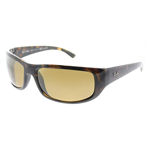 Ray-Ban Men's RB4283CH Chromance Mirrored Rectangular Sunglasses, Tortoise/Polarized Bronze Mirror, 64 mm (Sind Ray Ban Sonnenbrille Polarized)