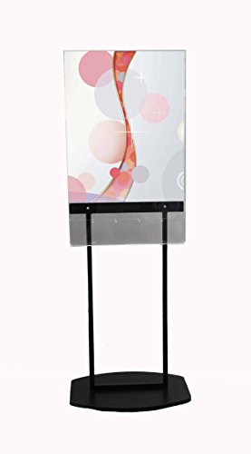 Acrylic Poster Stand with 5 Pocket Brochure Rack, Removable Dividers-Black - Removable Divider