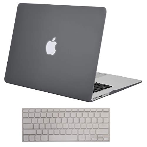 MOSISO Plastic Hard Shell Case & Keyboard Cover Skin Only Compatible with MacBook Air 11 Inch (Models: A1370 & A1465), Gray