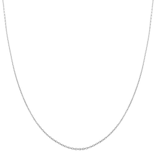14k White Gold 0.8mm Diamond-cut Cable Chain (16 inch) Diamond Cut Gold Chains