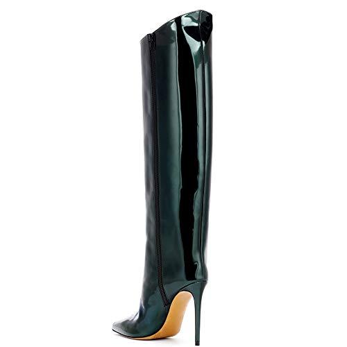 Rossa Grandi Stivali In Alto Nera Donna Di Vernice Black Da Tacco Dimensioni Con Pelle PqgP8Fr