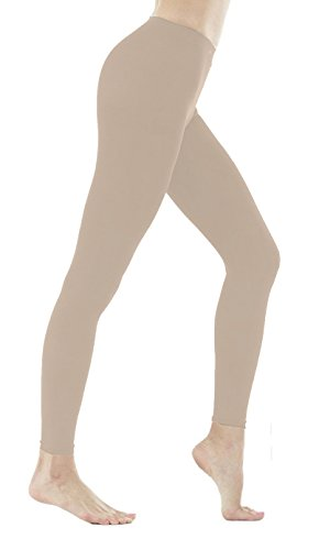 DZSbestdeal Women's 280 Denier Opaque Solid Color Footless Pantyhose Tights Beige (Tights Footless Denier)