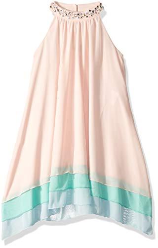 Jeweled Neckline Dress - My Michelle Girls' Big Tiered Dress Jeweled Neckline, Pink 8
